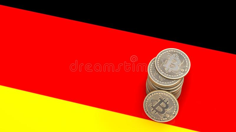 A pile of Bitcoin coins stands on the flag of German. 3D render stock illustration