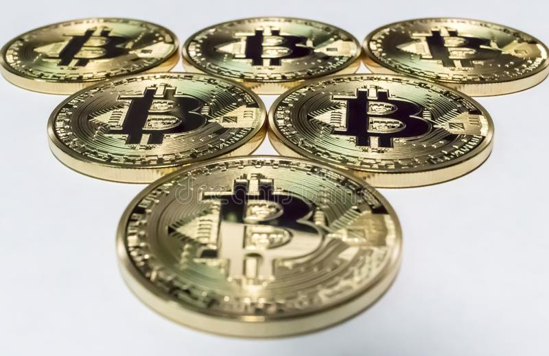 Triangle of bitcoins royalty free stock photo