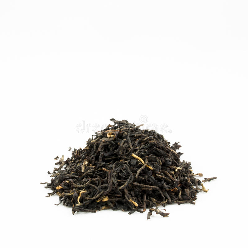 Pile of Black Tea Leaves with Copy Space royalty free stock photos