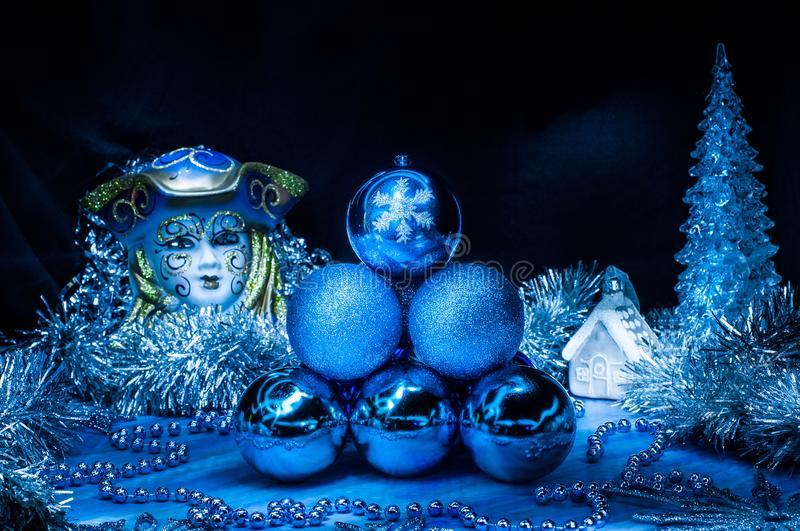 Pile of blue christmas balls in the center stock image