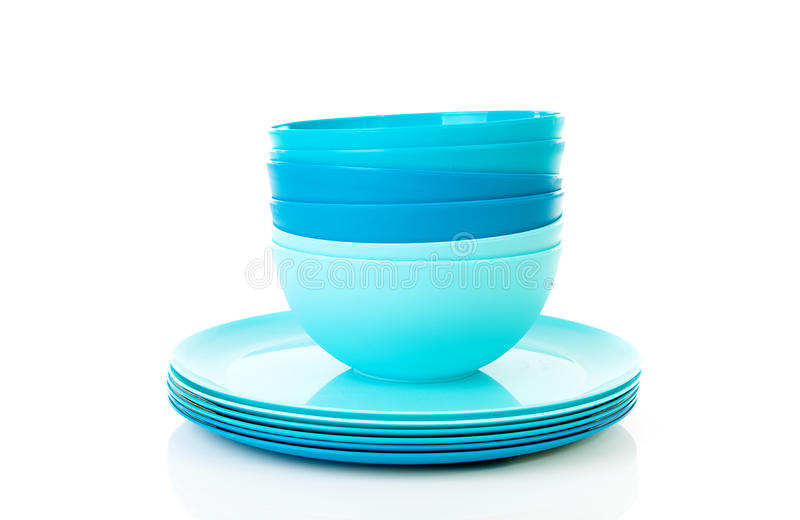 Download Pile Of Blue Plastic Plates And Bowls Stock Photo - Image of bowls, utensil: 21872544