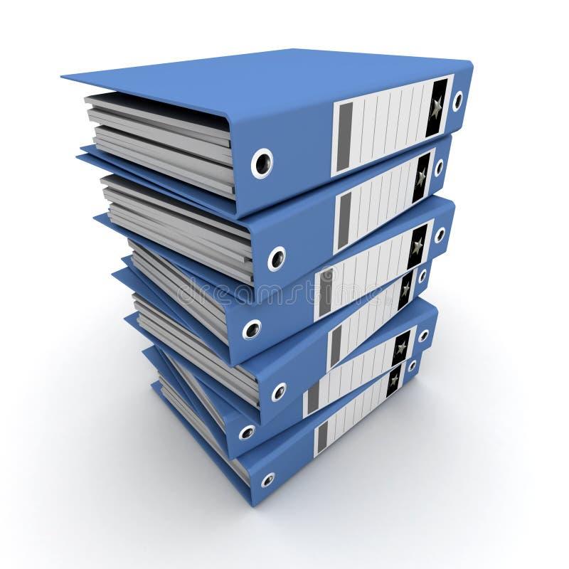 Pile of blue ring binders royalty free illustration