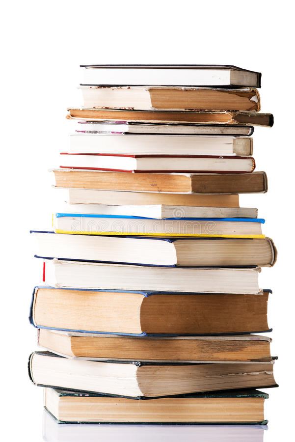 Pile of books. Isolated on white background royalty free stock photos