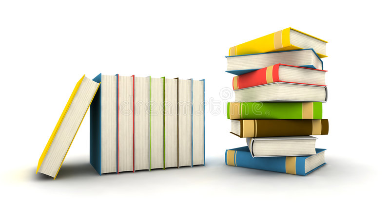Pile of books. Isolated on white background - 3d render royalty free stock photography