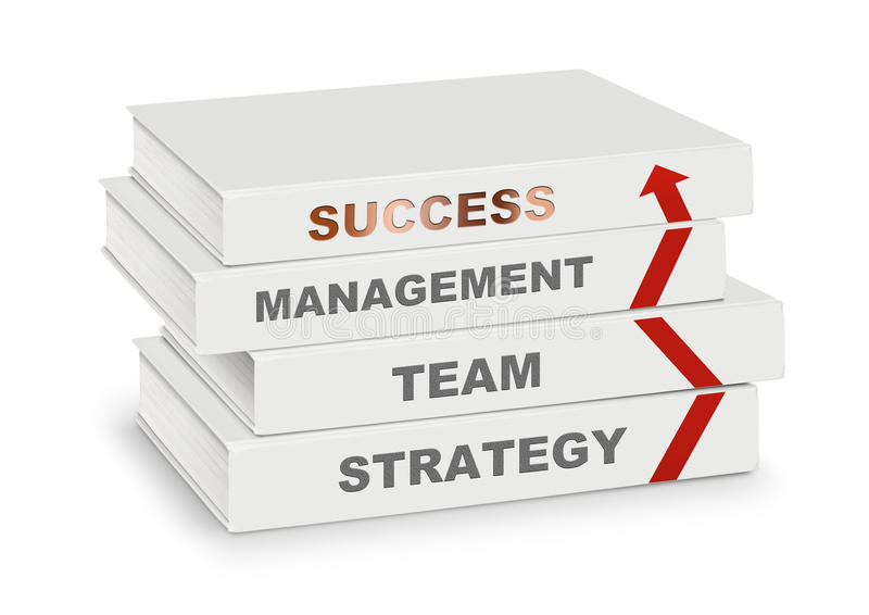 Pile of books covered management, team, strategy, success and ar. Row, business concept on white with path vector illustration