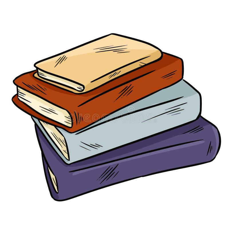 Pile of books cute doodle. Sticker design for planners and notebooks stock illustration