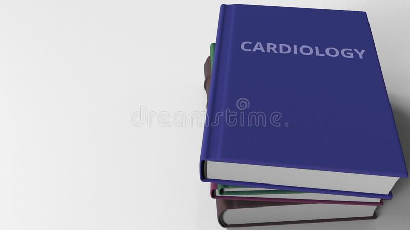 Heap of books on CARDIOLOGY, 3D rendering stock illustration