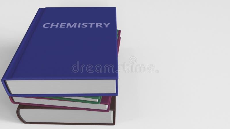 Heap of books on CHEMISTRY, 3D rendering vector illustration