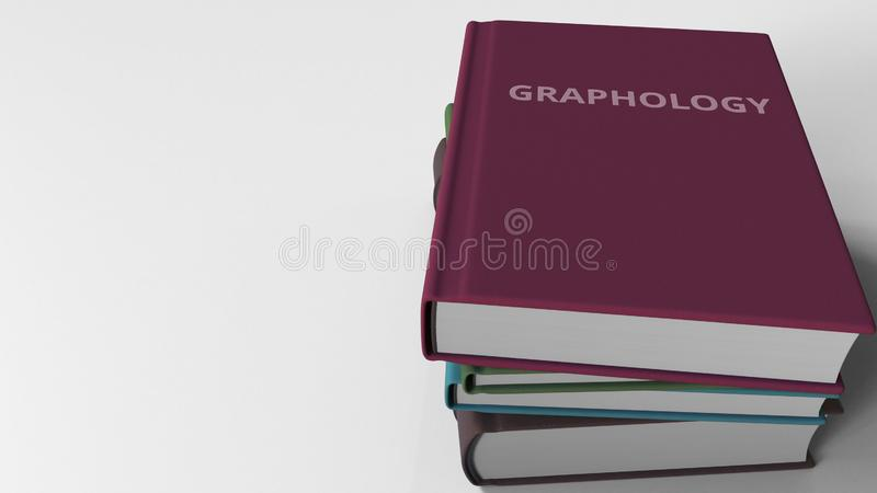 Heap of books on GRAPHOLOGY, 3D rendering stock illustration