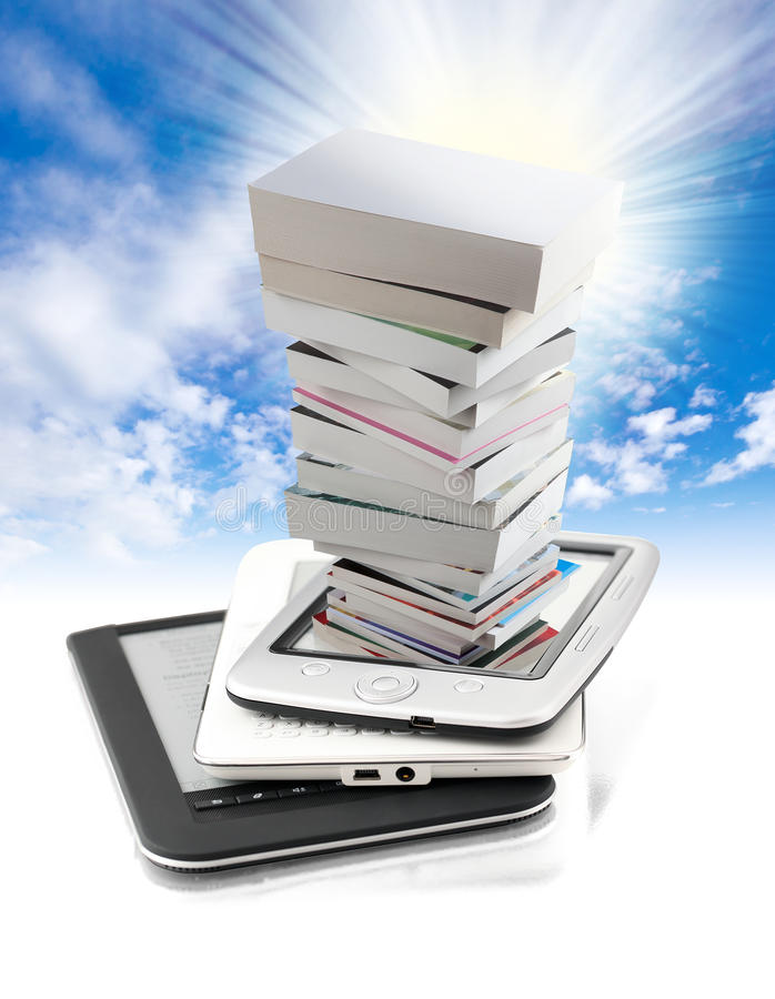 Pile of books in e-book royalty free stock images