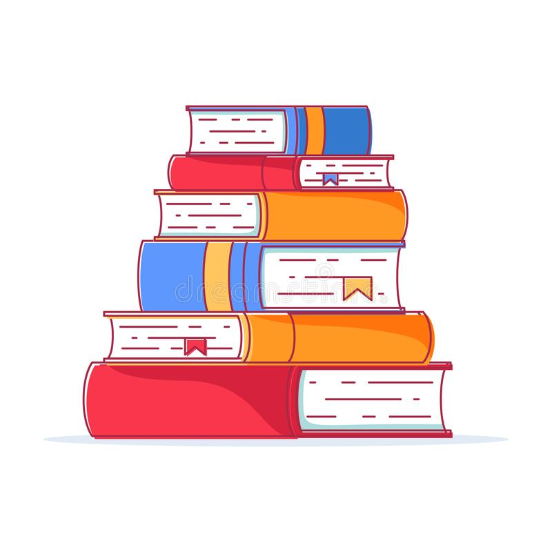 Pile of books in a flat style, isolated on a white background. Stack of books with bookmarks. Concept of learning. vector illustration
