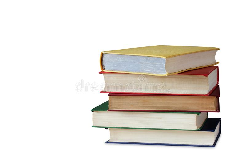 Pile of books, isolated on white background. Pile of books in color covers, isolated on white background royalty free stock images
