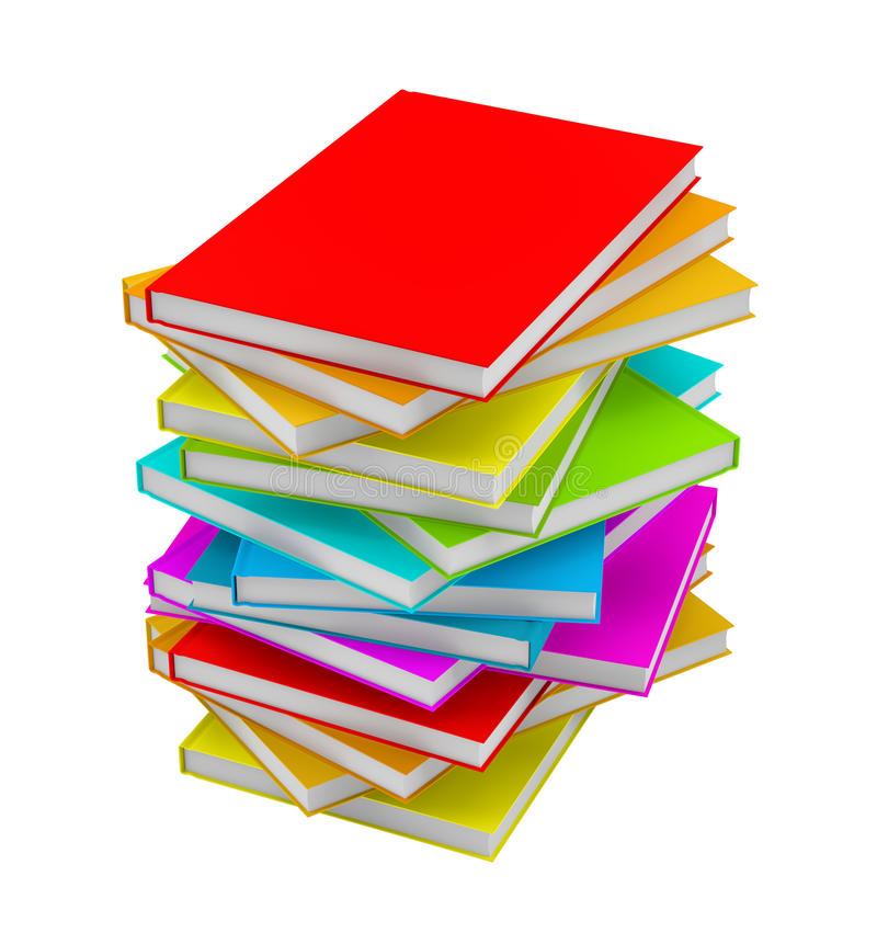 Pile of Books isolated on white background stock illustration