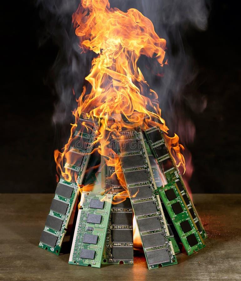 Pile brûlante de RAM photographie stock libre de droits