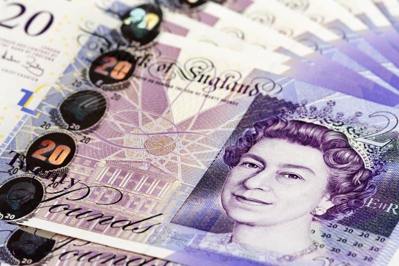 Pile of British pounds stock photo