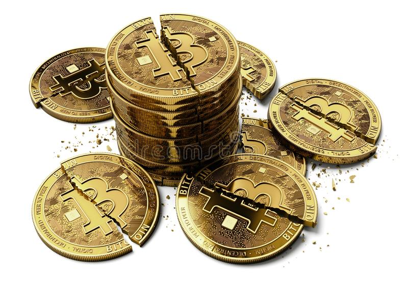 Pile of broken or cracked Bitcoin coins laying on white background. Bitcoin crash concept. 3D rendering royalty free illustration