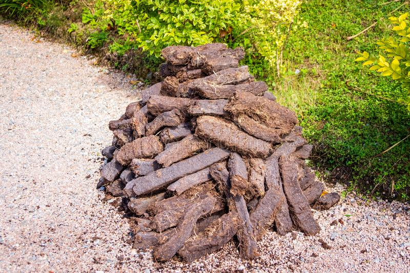 Pile of brown peat bricks drying in sunlight on green grass stock photo