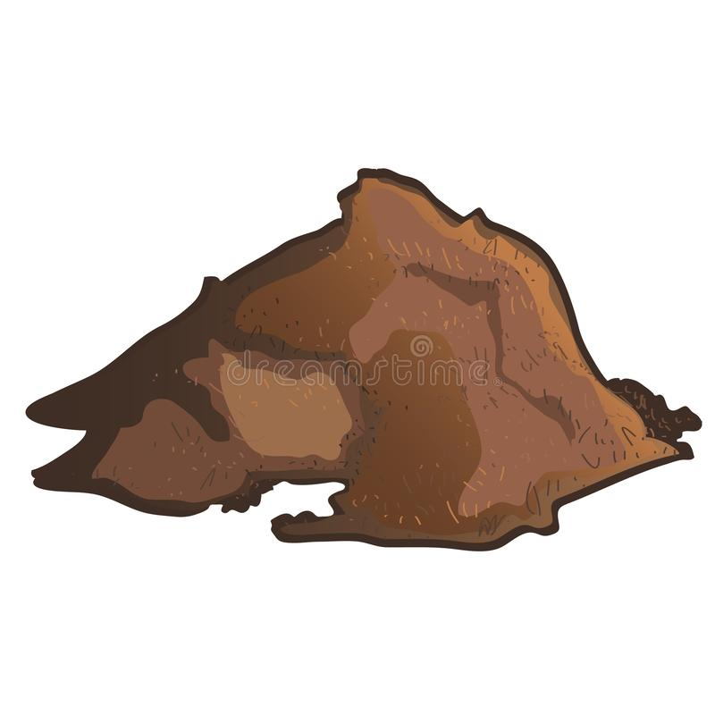 A pile of brown substrate isolated on white background. Vector cartoon close-up illustration. royalty free illustration
