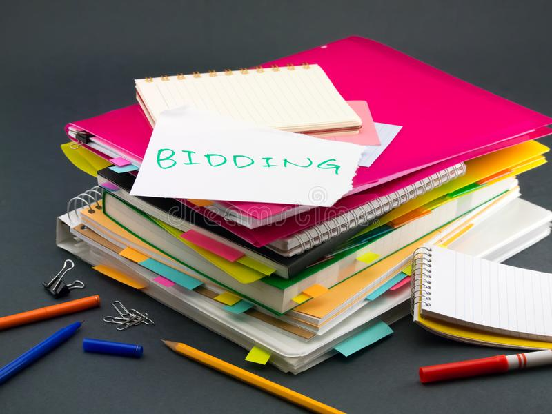 The Pile of Business Documents; Bidding.  royalty free stock photo