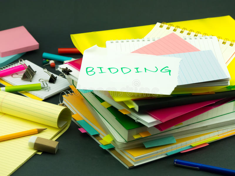 The Pile of Business Documents; Bidding. (Office royalty free stock photo