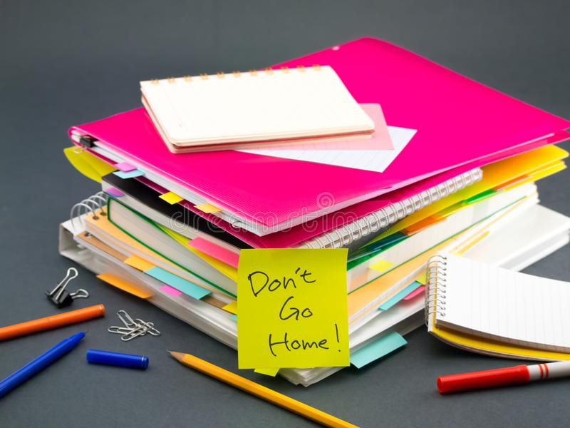 The Pile of Business Documents; Don`t Go Home.  stock images