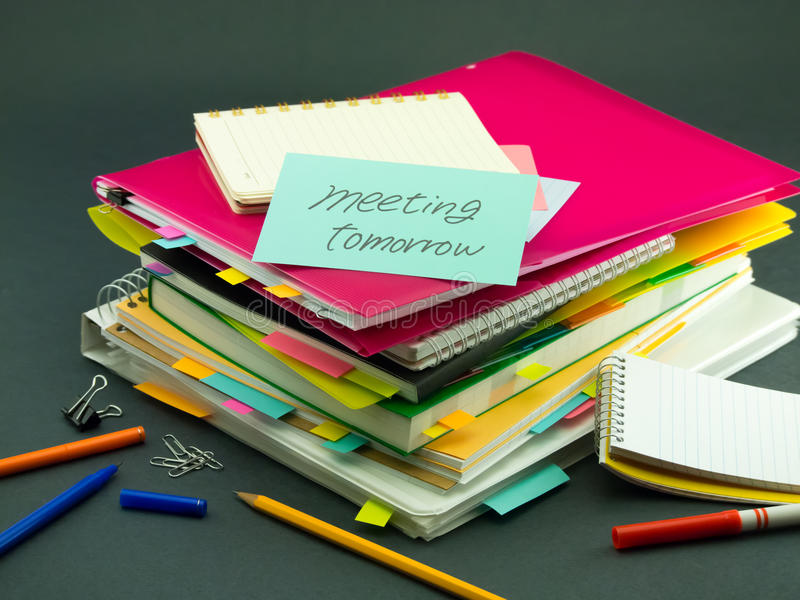 The Pile of Business Documents; Meeting Tomorrow. (Office stock photos