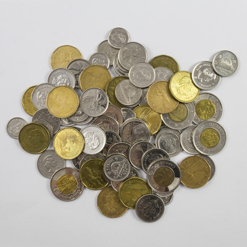 A pile of Canadian change stock image