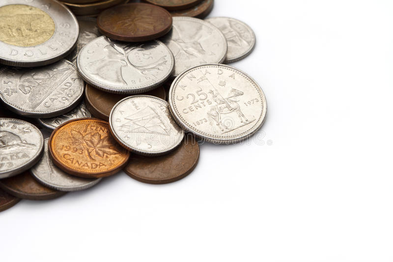 Pile of Canadian Coins with Copy Space stock photography
