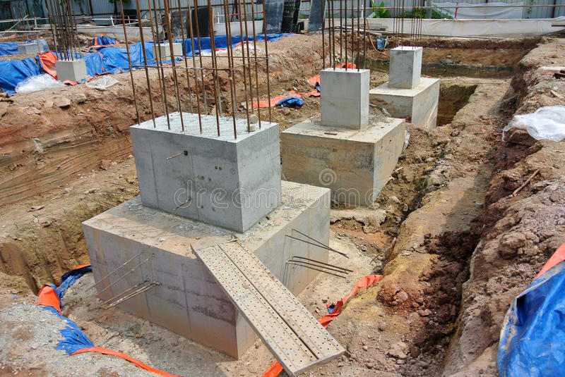 Pile cap is part of building substructure and foundation. SELANGOR, MALAYSIA – May 25, 2015: The building pile cap at construction site in Selangor royalty free stock photos