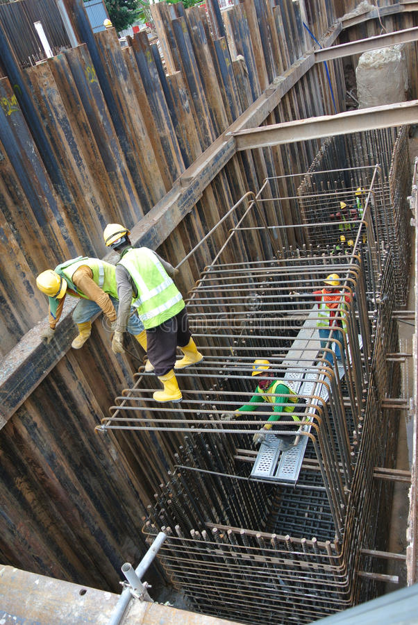 Pile Cap Reinforcement Bar Fabricated Workers Construction Site
