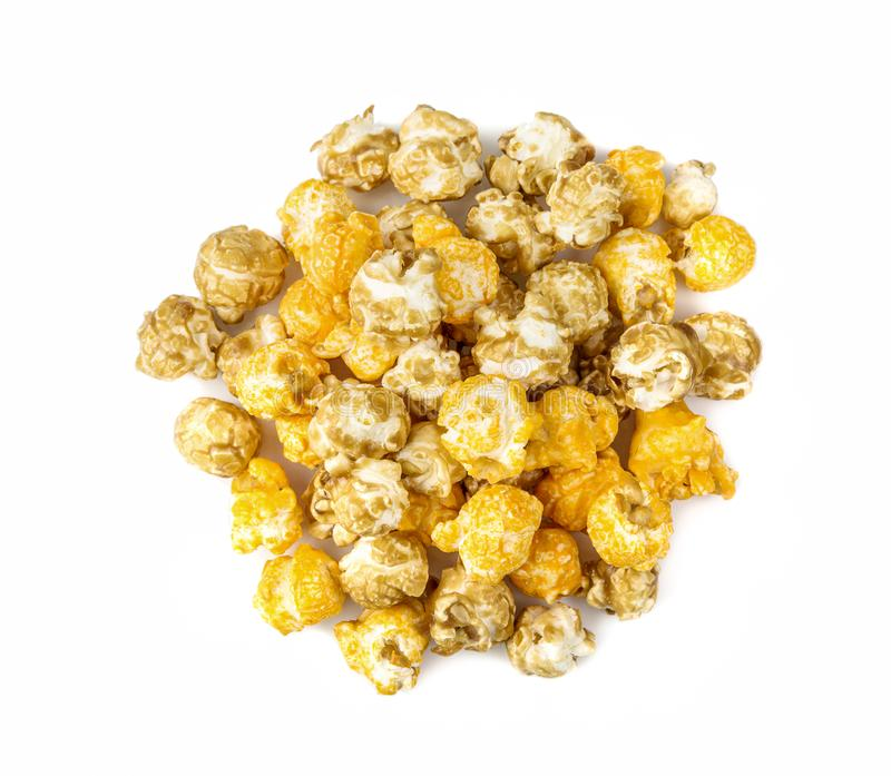 A pile of caramel corn on a white background. A pile of caramel corn on a white background stock photos