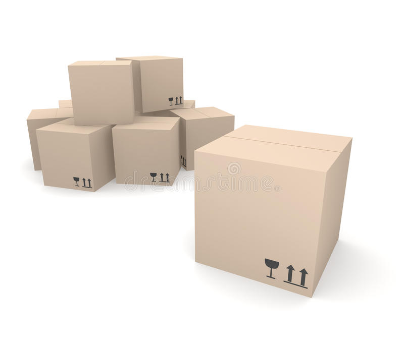 Pile of cardboard boxes royalty free illustration