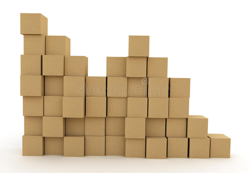 Pile of cardboard boxes stock illustration