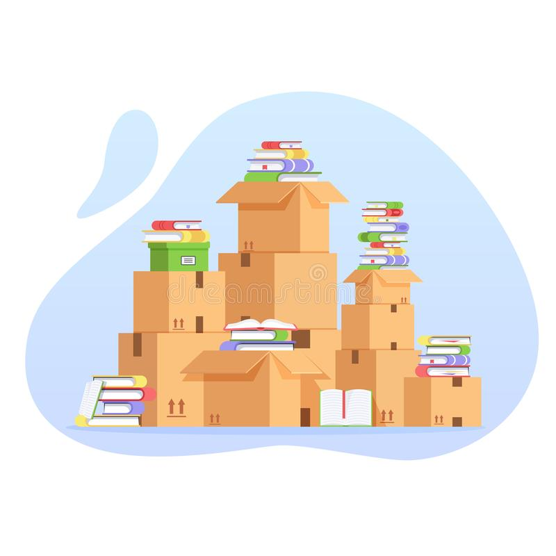 Pile of cardboard boxes and books. Unorganized concept. Pile of stacked cardboard boxes. Moving to a new house with royalty free illustration