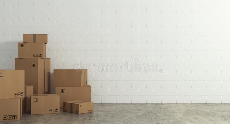 Stack of closed cardboard boxes wrapped with adhesive on the floor. Concept of moving and shipping stock image