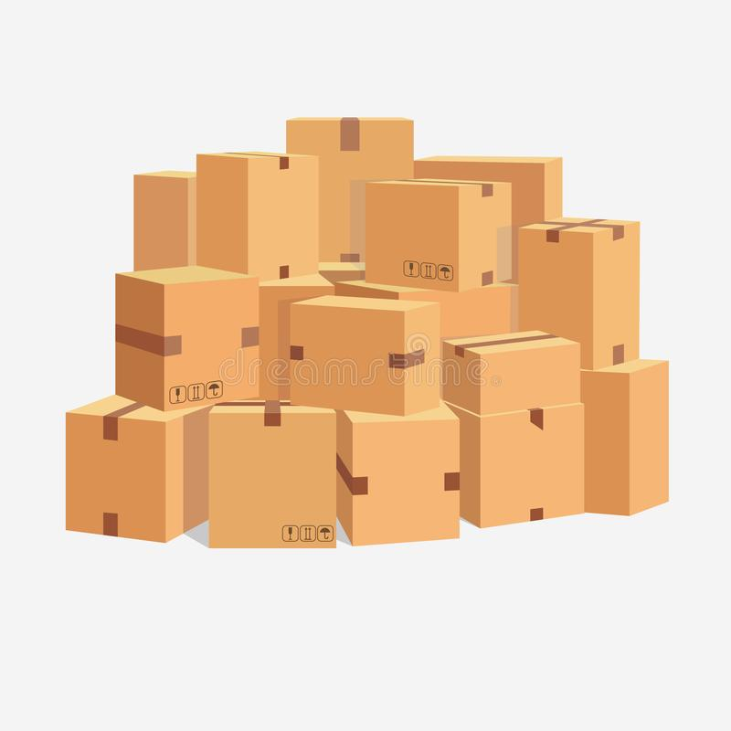 Pile of cardboard boxes, stacked sealed goods. vector stock illustration