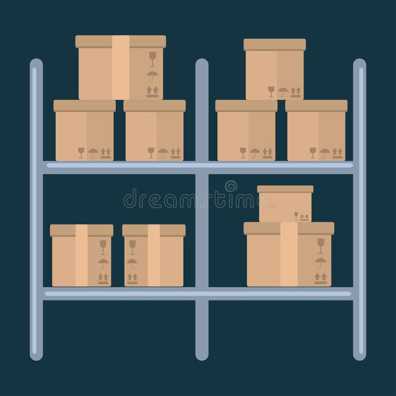 Pile cardboard boxes on warehouse shelves vector illustration vector illustration. 
