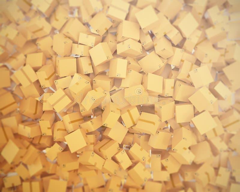 Pile of cardboard delivery boxes or parcels. 3d illustration vector illustration