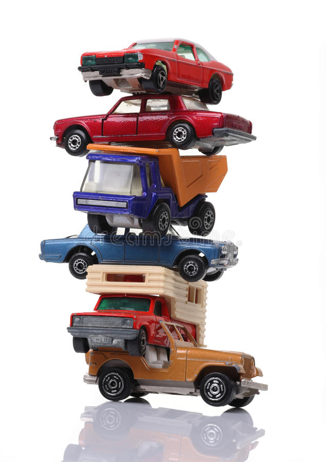 Pile of cars stock image