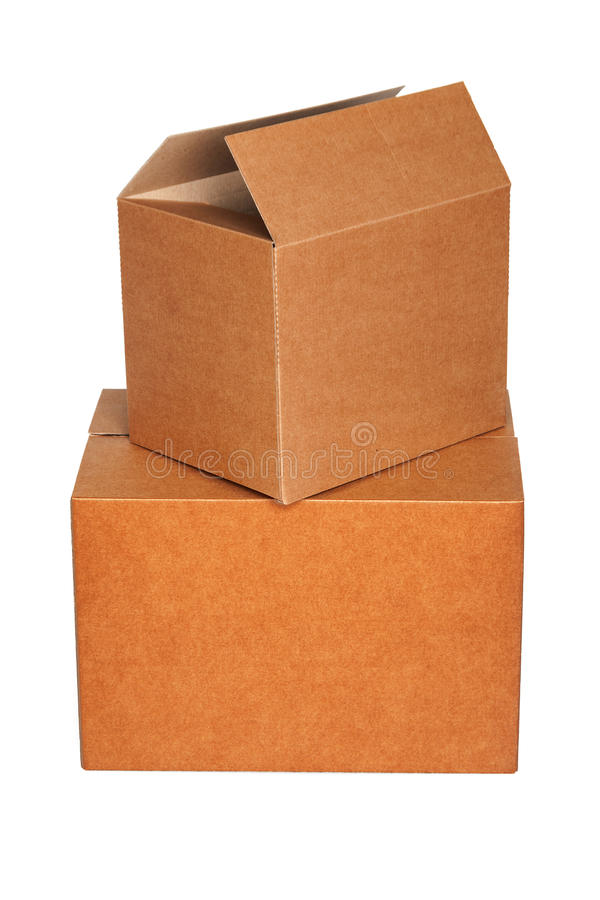 Pile of cartons isolated on white royalty free stock photo