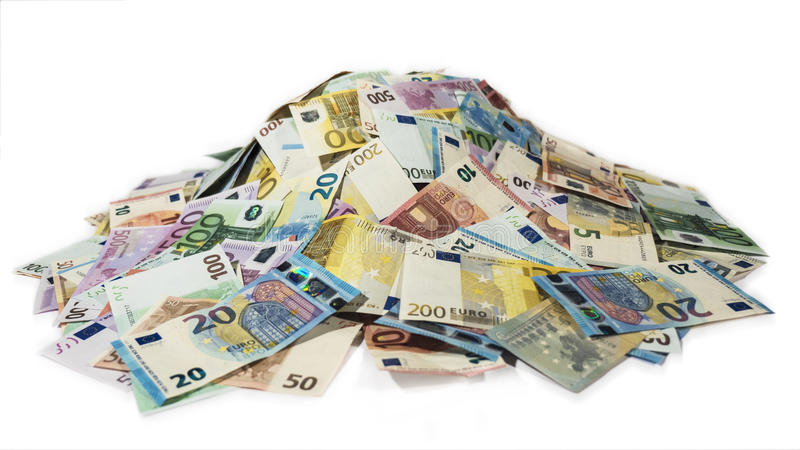 Pile of cash, stack of money, 2016 new euro bills royalty free stock image