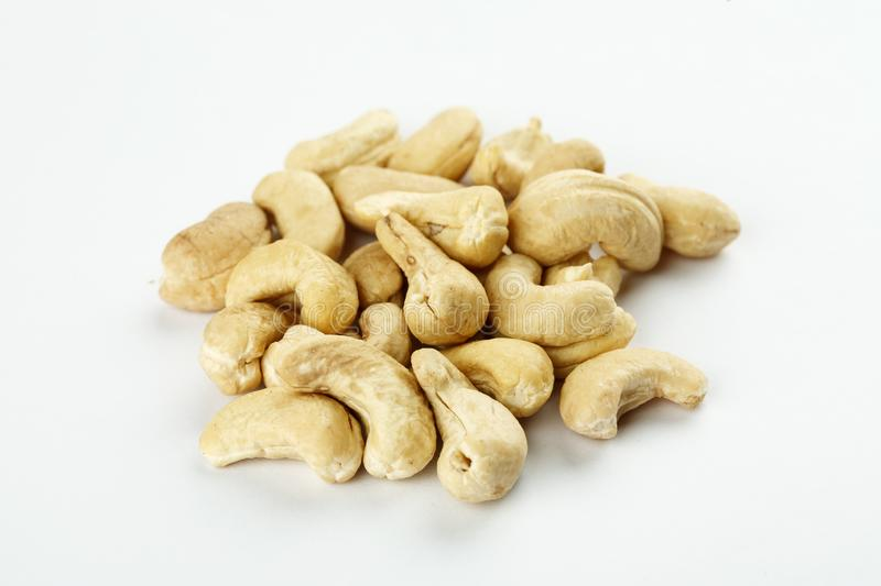 Pile of cashew on a white background.  stock photo