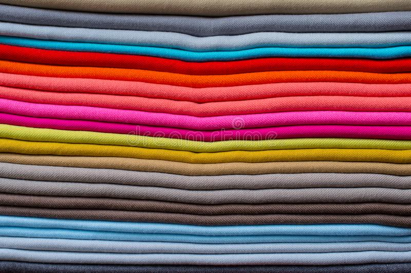 Fabric colour Pattern piled up royalty free stock photography