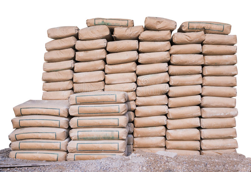 Pile of Cement in bags,neatly stacked for a construction project royalty free stock photography