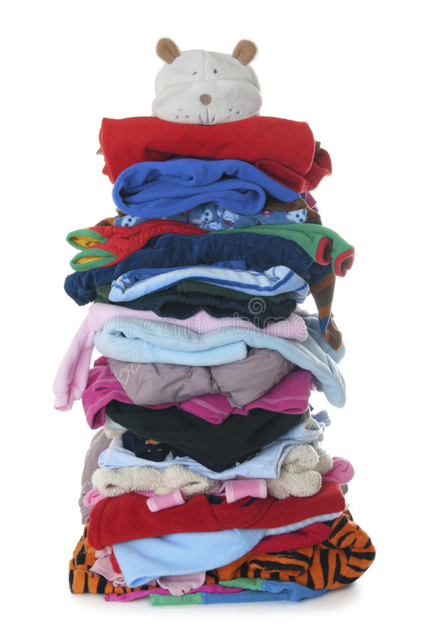 Pile of children's warm fluffy clothes   Isolated stock image