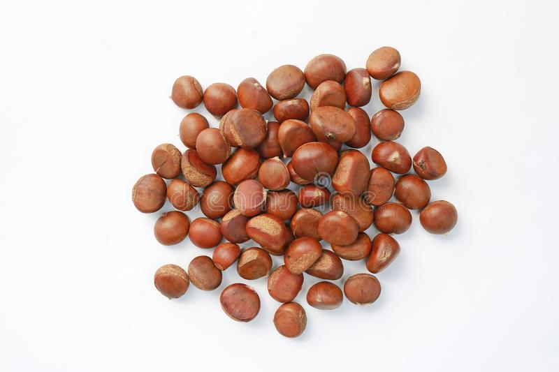 Pile of Chinese Chestnut isolated on white background.  stock photos
