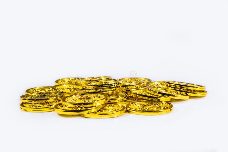 Pile of chinese coins stock images