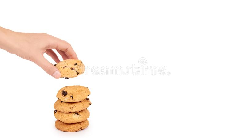 pile of chocolate chip cookies in hand isolated on white background