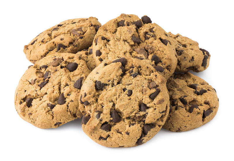 Pile of Chocolate Chip Cookies. Isolated on White Background royalty free stock images