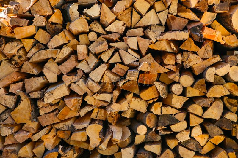 Pile of chopped wood. Pile of chopped fire wood royalty free stock images